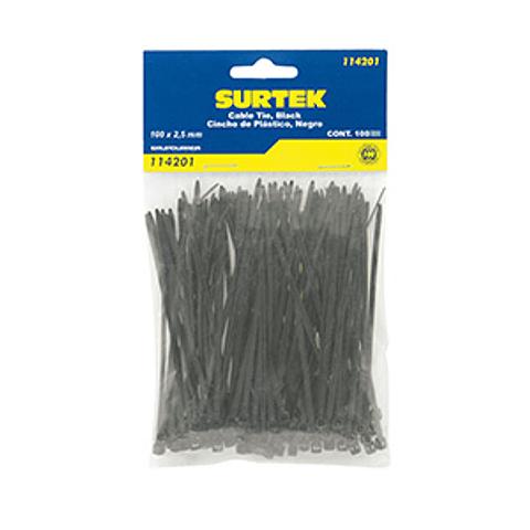 114205 Cincho plástico 150 x 3.6mm 50 piezas negro Pack 12 Pzs. Surtek