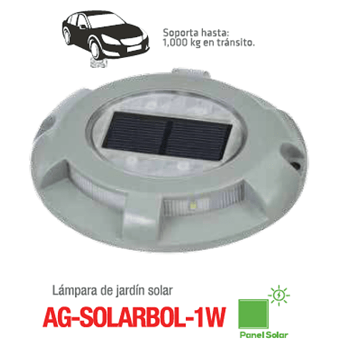 AG-SOLARBOL-1W-BF Empotrable a Piso Solar Blanco Frío 6000K