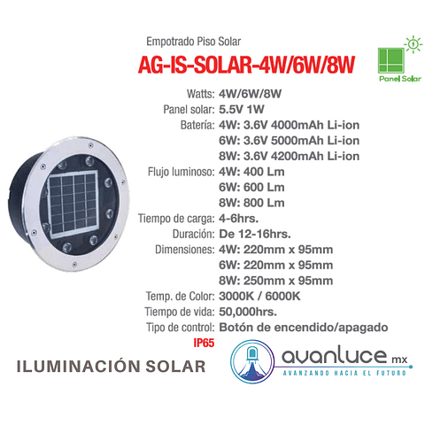 AG-IS-SOLAR-6W-BF Empotrable a Piso Solar IP65 Blanco Frio