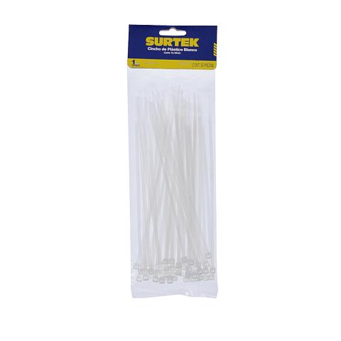 Cincho plástico color natural Paq. 12 bolsas con 50 piezas sku 114210