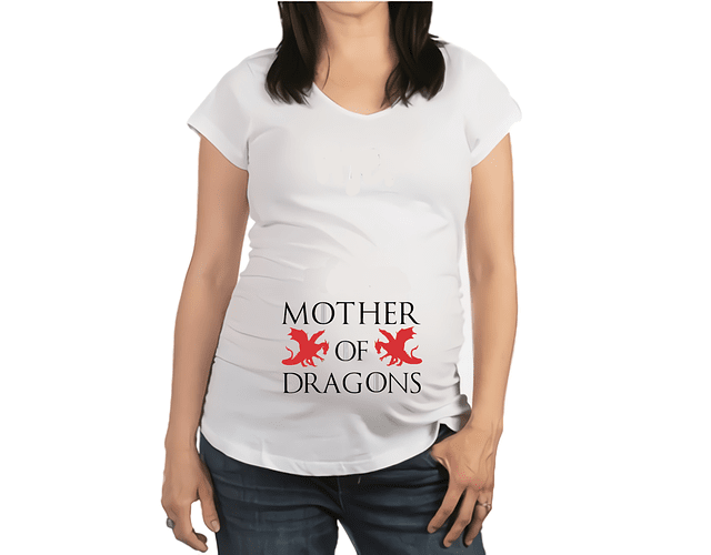 Camiseta De Mujer Embarazada Mother of dragons Baby Monster