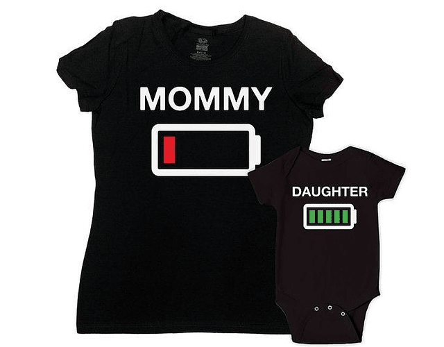 camisetas para Mamá Papá y bebe Low Battery