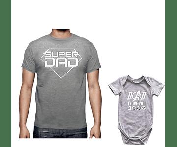 body kit bebe y Papá  Feliz  día del padre super dad