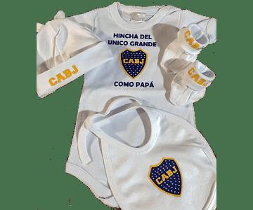 Set Primera Muda sencilla Futbol Boca juniors  Para Bebe Baby Monster