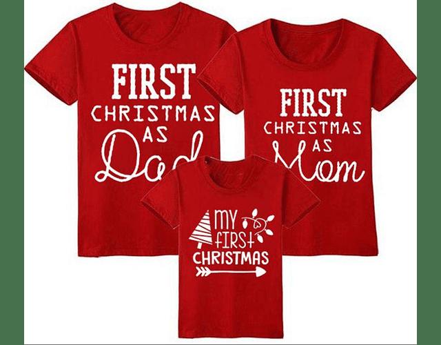 First christmas Tríos camisetas Navidad para Mamá papá y bebe