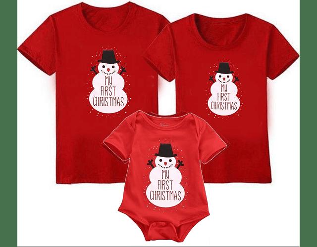 Muñeco de nieve navidad Tríos camisetas para Mamá papá y bebe