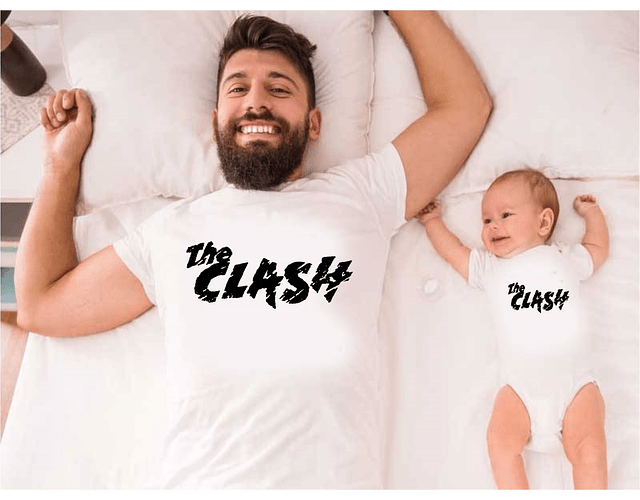 camisetas para Papá o Mamá y bebe The Clash baby monster