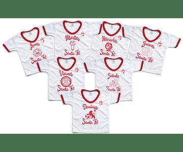Set semanario para niño y niña Futbol santa fe 7 Camisetas
