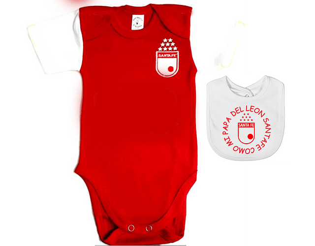 Ropa Para Bebe Body Bodie Futbol Santa Fe sencillo mas babero Baby Monster