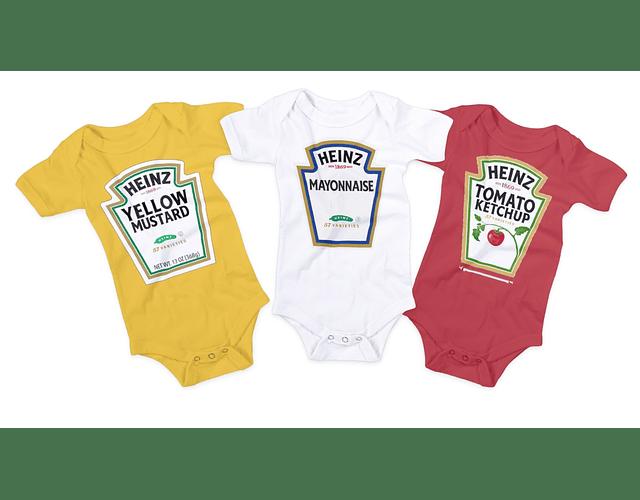 set trio de bodys ropa para bebe salsa de tomate, mayonesa y mostaza