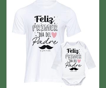 camiseta para papa body bebe  kit feliz primer día del padre
