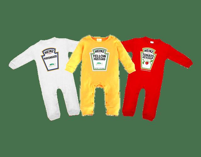 set trio de pijamas ropa para bebe salsa de tomate, mayonesa y mostaza