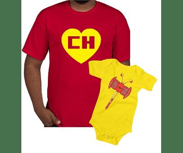 camisetas para Papá o mamá y bebe chapulin colorado