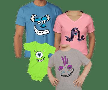 Halloween  camisetas para Mamá  papá y bebe Familia Monster inc
