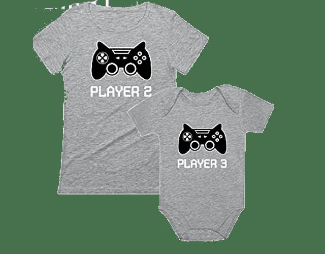 camisetas familia personalizada papá, mamá y bebe gamer