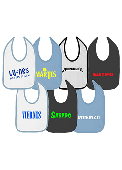7 Baberos Semanario ROCK NIÑO