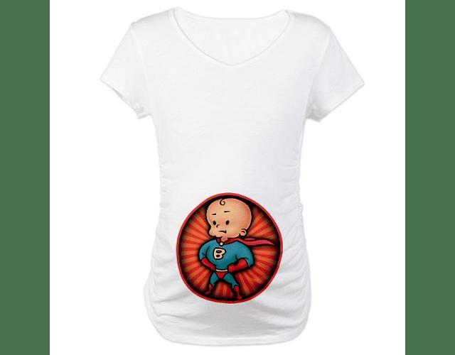 Camiseta De Mujer Embarazada con diseños Super Héroes Baby Monster-Blanco
