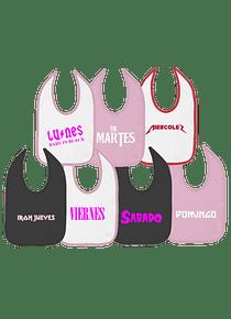 7 Baberos Semanario baberos rock para niñas