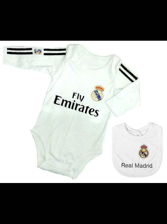 6f76bbb04 Set ropa para bebe niño niña bodi y babero real madrid Baby monster
