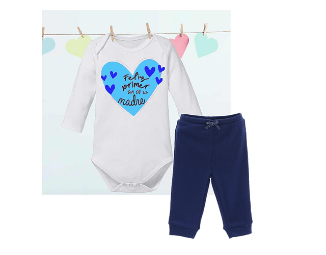 Ropa Para Bebe Body Bodi y pantalon Feliz primer día de la madre