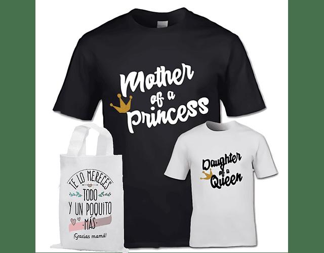 Camiseta y Body Bodie Dúo bebe y Mamá de una princesa
