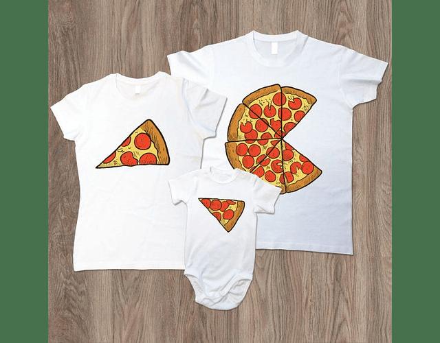 camisetas familia personalizada papá, mamá y bebe pizza