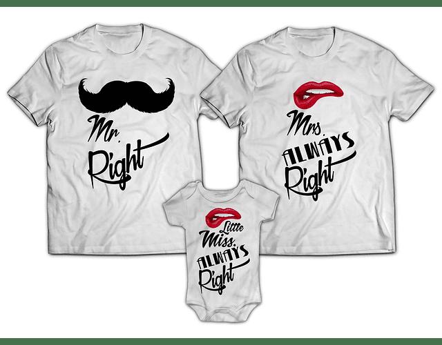 camisetas familia personalizada papá, mamá y bebe always right