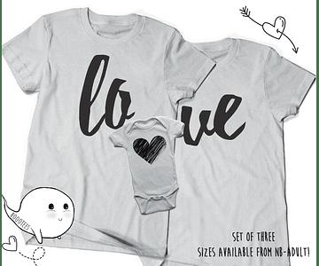 camisetas para Mamá  papá y bebe LOVE