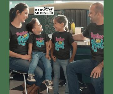 camisetas para Mamá  papá y bebe Rock