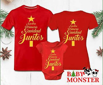 primera Navidad juntos Tríos camisetas para Mamá papá y bebe