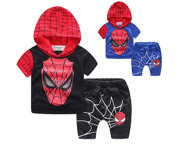 2019 New summer Boys outfits Super hero Short Sleeve Hooded Casual Children Two Piece Set Avengers Cartoon Set Baby Kids Clothing C2259