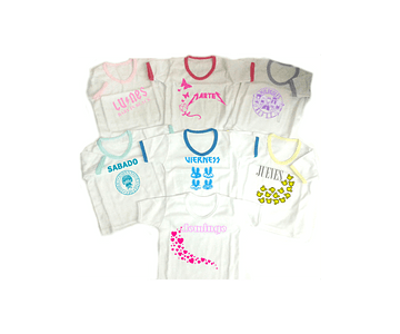 Set semanario para niña rock 7 Camisetas Multicolor