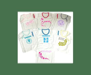 Set semanario para niña rock 7 Camisetas Multicolor