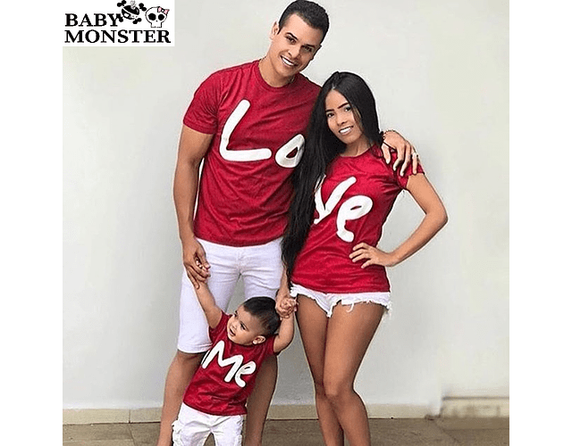 Amor y amistad San valentin Tríos camisetas para Mamá  papá y bebe LOVE ME