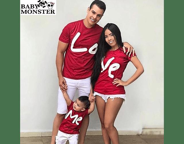 camisetas familia personalizada papá y bebe LOVE ME