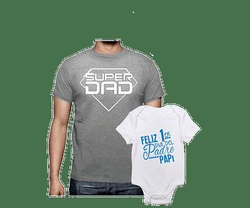 body kit bebe y Papá  Feliz  día del padre super Papá