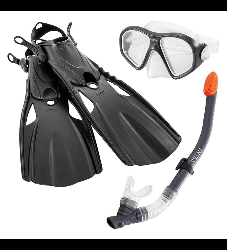 Set de Buceo Intex Mascara Buceo + Tubo Snorkel + Aletas Negro Adulto Edad 14+