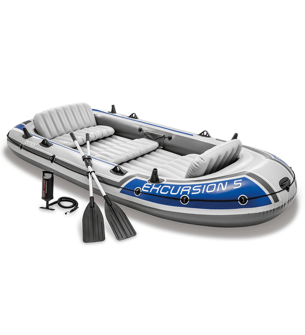 Bote Inflable Intex Excursion 5 Set + Remos + Inflador Capacidad 600 Kg