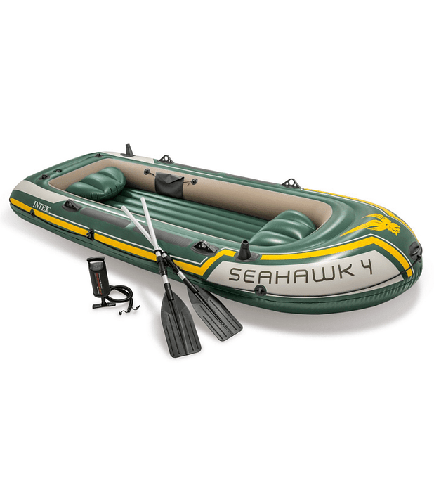 Bote Inflable Intex Seahawk 4 Set + Remos + Inflador Capacidad 480 Kg