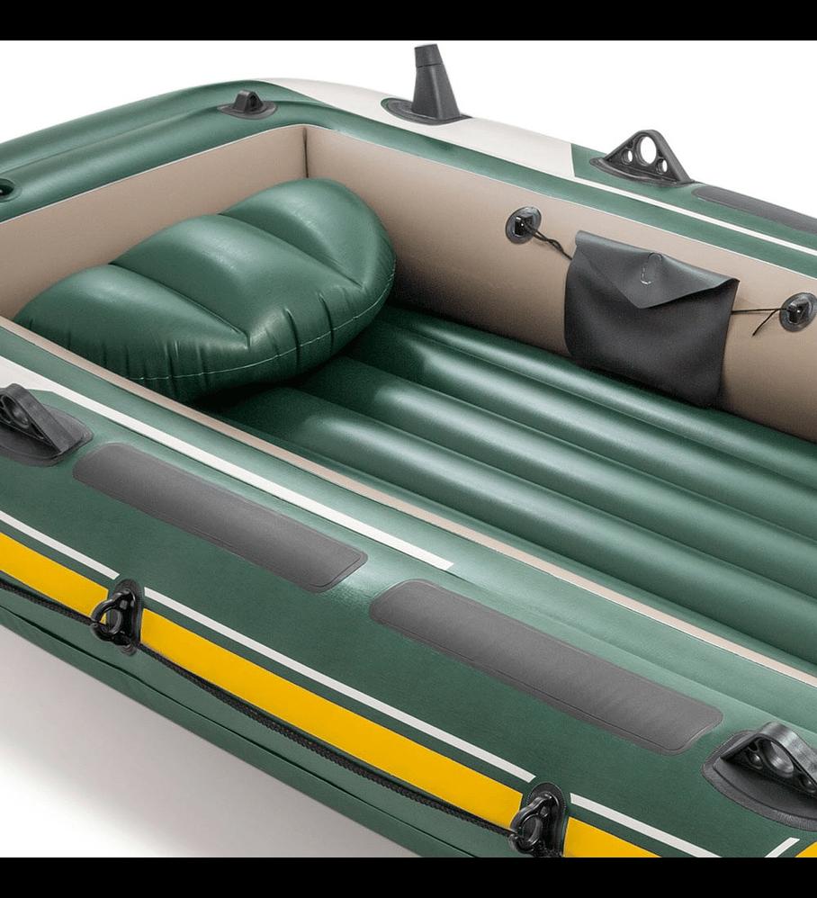 Bote Inflable Intex Seahawk 4 Set + Remos + Inflador Capacidad 480 Kg