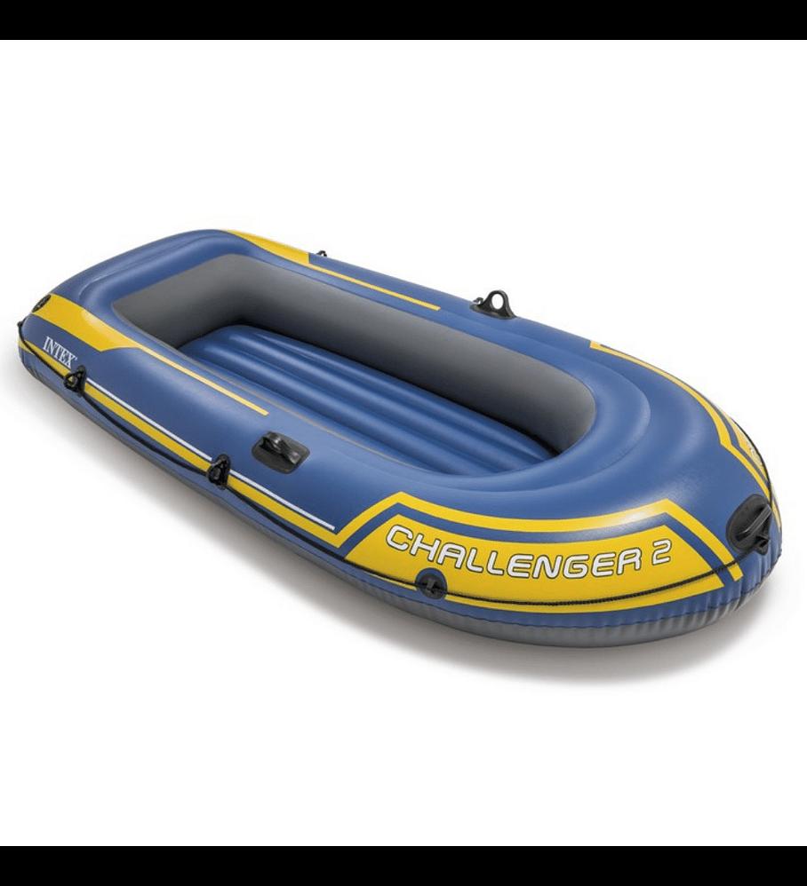 Bote Inflable Intex Challenger 2 Set + Remos + Inflador Capacidad 200 Kg