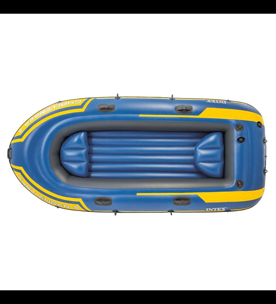 Bote Inflable Intex Challenger 3 Set + Remos + Inflador Capacidad 320 Kg