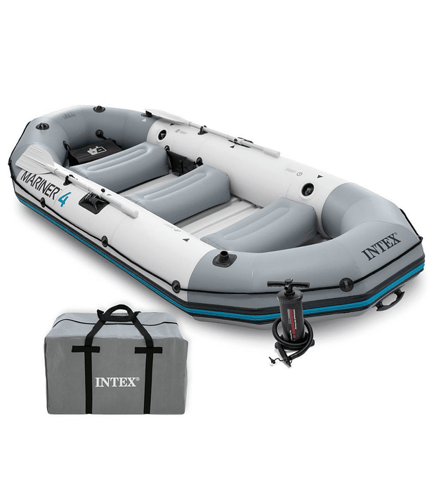 Bote Inflable Intex Mariner 4 Set + Remos + Inflador Capacidad 500 Kg