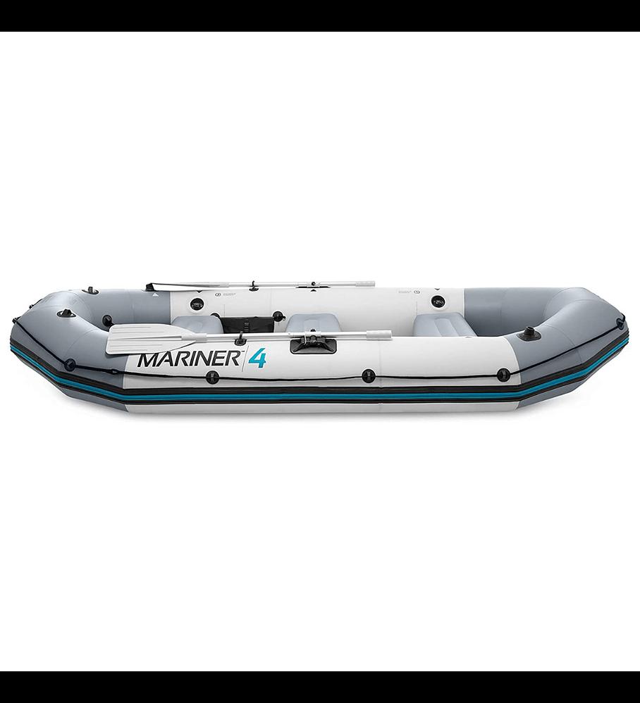 Bote Inflable Intex Mariner 4 Set + Remos + Inflador Capacidad 500 Kg