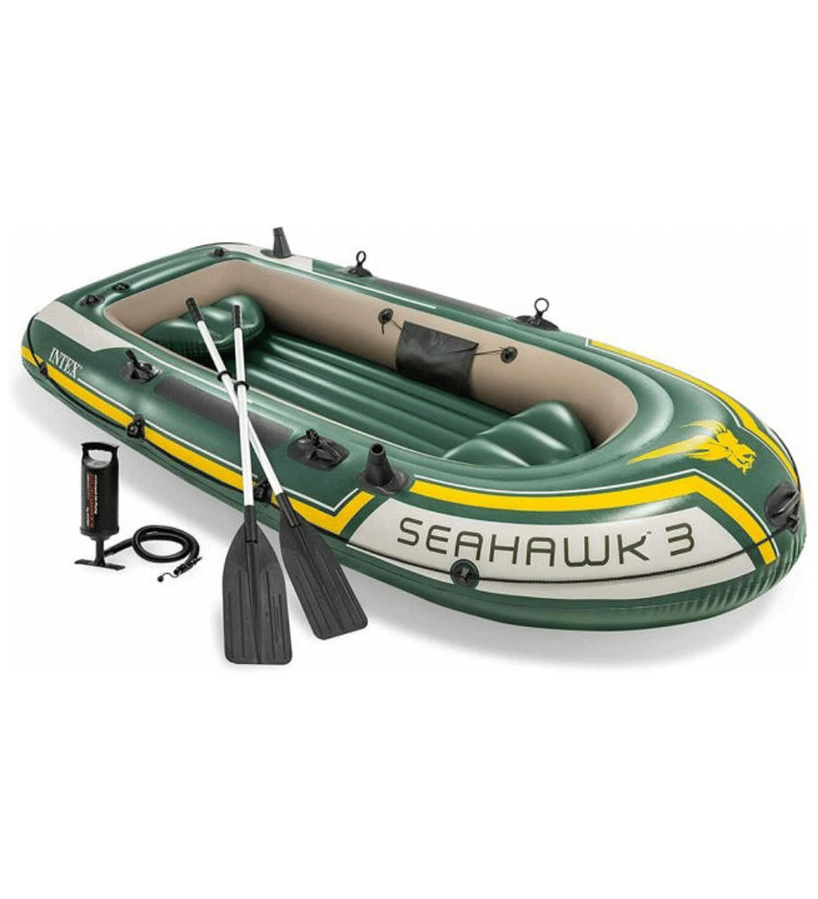 Bote Inflable Intex Seahawk 3 Set + Remos + Inflador Capacidad 360 Kg