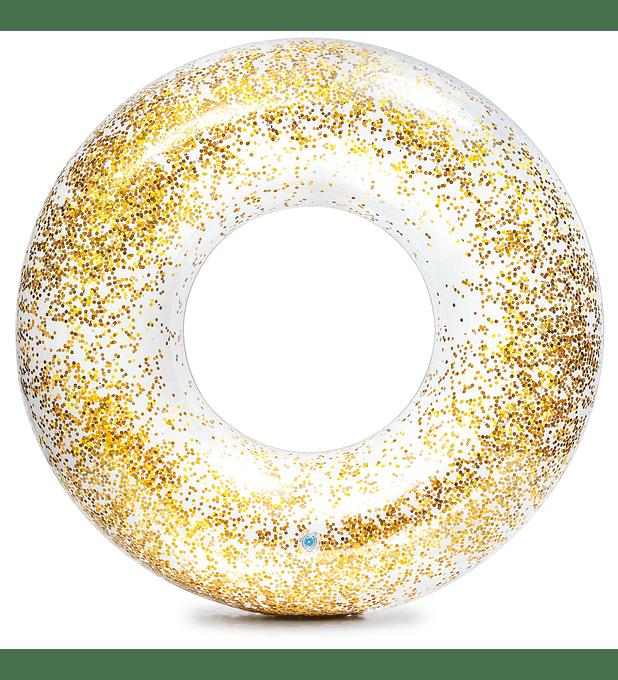 Flotador Inflable Redondo Intex Brillo Dorado 107 x 27 cm