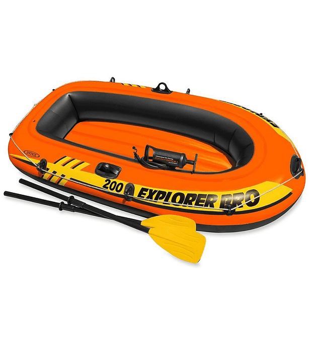 Bote Inflable Intex Explorer 200 Pro Set + Remos + Inflador Capacidad 120 Kg