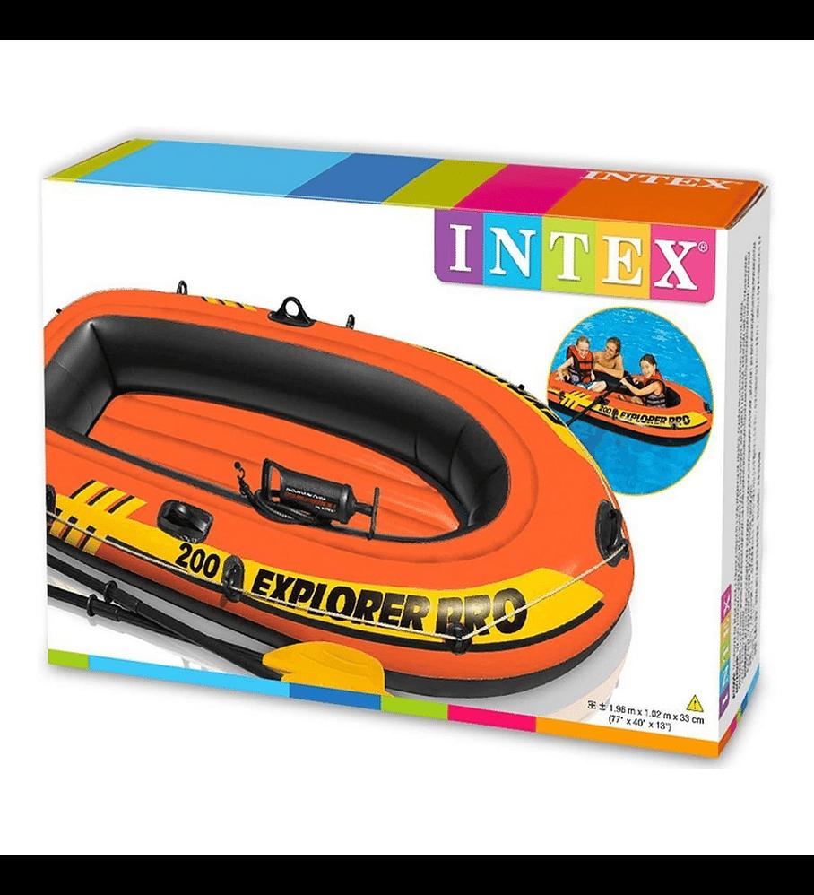 Bote Inflable Intex Explorer 200 Pro Set + Remos + Inflador Capacidad 120 Kg