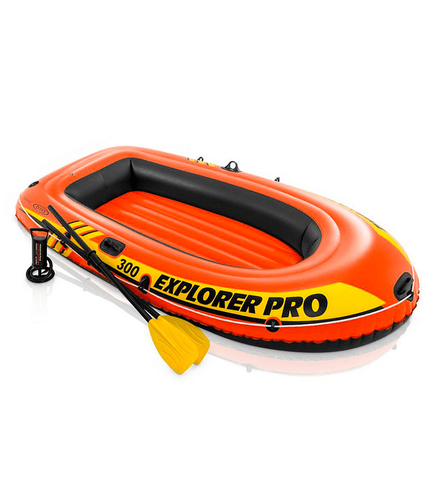 Bote Inflable Intex Explorer 300 Pro Set + Remos + Inflador Capacidad 200 Kg
