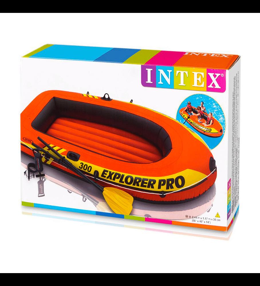 Bote Inflable Intex Explorer 300 Pro Set + Remos + Inflador Capacidad 200 Kg